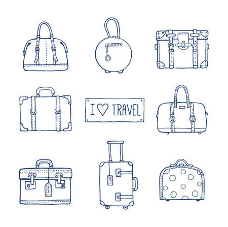 Vector hand drawn artistic sketch illustration of vintage suitcases and bags with text I love travel. Retro style, doodles. 矢量图像