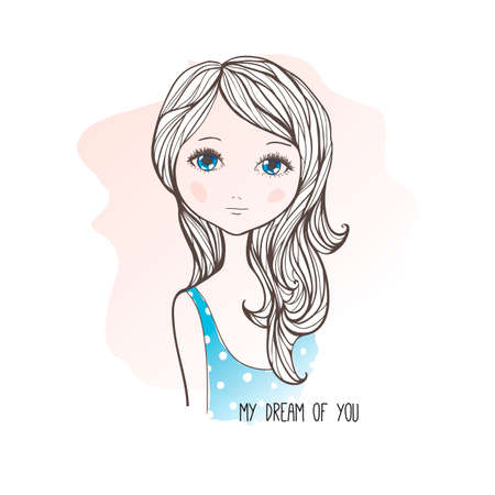 Vector illustration of cute romantic girl in sketching style. Text My Dream of You. Hand drawn greeting card.