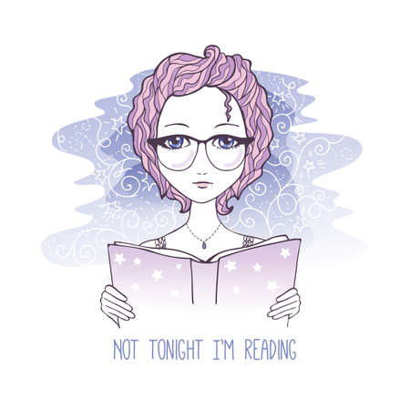 Vector sketch illustration of romantic girl reading the book.