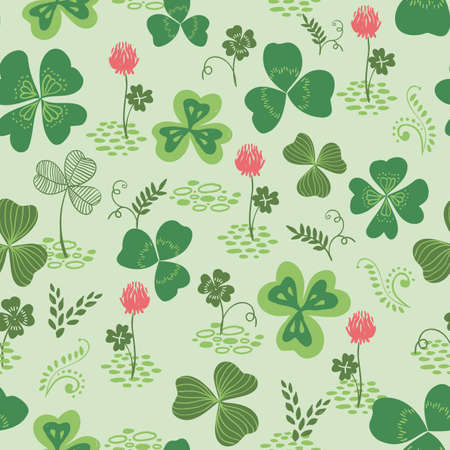 seamless clover: Vector seamless pattern with green hand drawn clover or trefoil and flowers, ireland culture. Illustration