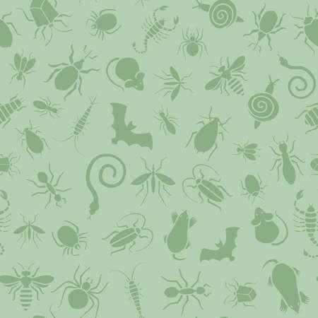 緑ベクトルのシームレスなパターンや様々 な昆虫、サソリ、ベッドバグ害虫駆除会社のシロアリなどのウェブサイトの背景。コウモリ、モグラ、マ  イラスト・ベクター素材