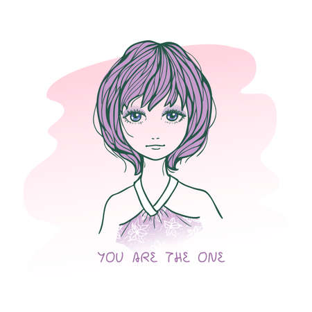 one girl only: Vector illustration of cute romantic girl in sketching style. Text You are the one. Hand drawn love greeting card.
