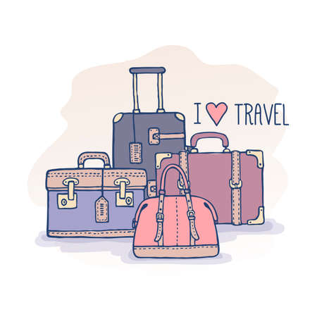 artistic sketch travel bags illustration in pastel colors. Vintage suitcases and bags with text I love travel. Retro style, doodles. Ilustrace