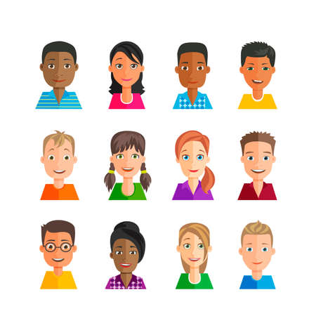 nationalities: set of avatars with expressions. Multi-ethnic, many nationalities, male and female. Young people with emotions on the faces.  Flat design style.