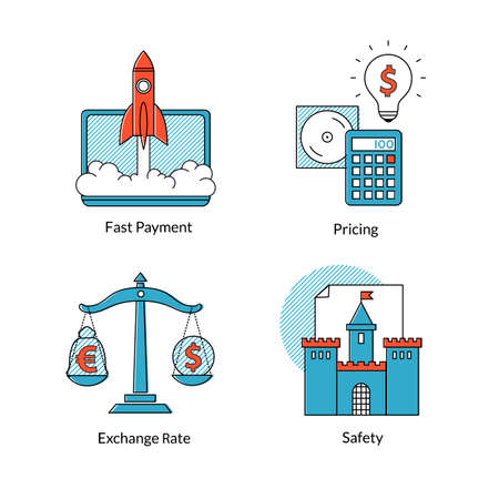 sell online: Set conceptual icons for of Ecommerce or online business. Fast payment, pricing, safety, exchange rating. Tools for buy or sell on-line Illustration