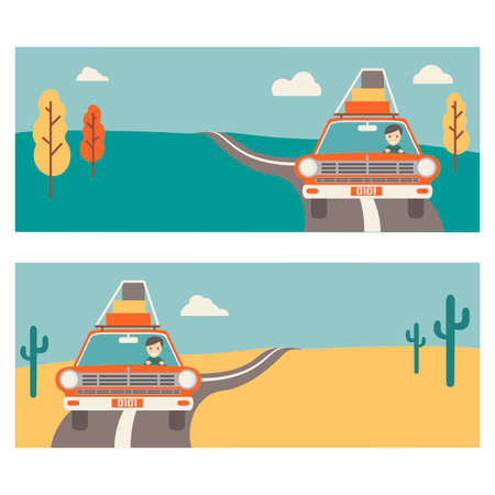template for banners about travel on the car. 2 banners summer desert and autumn. Happy tourist in the car with luggage, retro style. Ilustrace