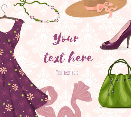 womanlike: background for clothing retail business or shopping: fancy violet romantic dress, necklace, shoe, handbag, hat, scarf. Trendy style. Youth fashion clothes and accessories. Place for text. Illustration