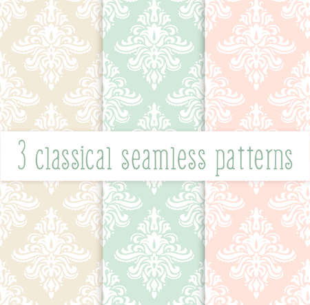 classicism: set of classical delicate seamless patterns in pastel colors: pink green and yellow. Background for greeting cards and wedding invitations.