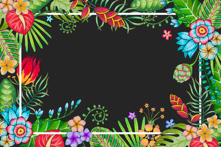 markers colored bright background with tropical leaves, branches and flowers, located as a frame with place for text Stock Photo