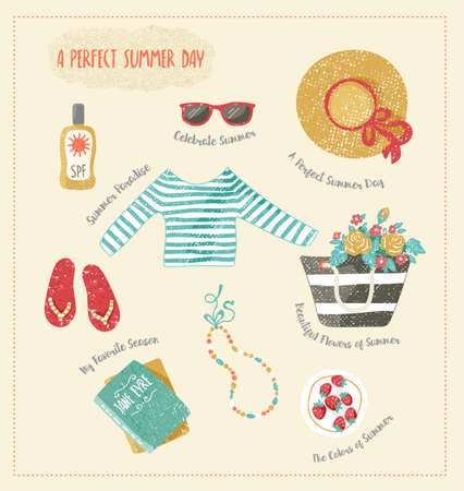 sunblock: set of summer clip-art. Clothes and accessories such as summer hat, beach bag, step-ins, sunglasses, books and sunblock. Hand drawn and textured.