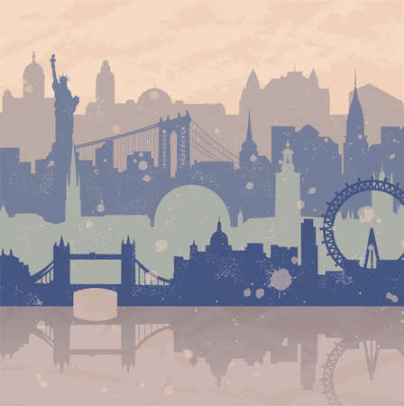 Vintage background about travel. Silhouettes of cities such as New York, London, Stockholm. Grunge hand drawn look. Travel urban poster. Ilustrace