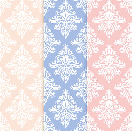 classicism: set of classical delicate seamless patterns in pastel pentone colors