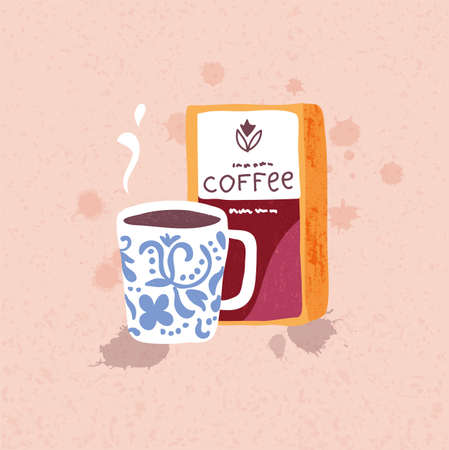 tasteful: illustration of hand drawn big coffee mug and coffee beans pack on the background Illustration