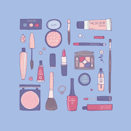 Hand drawn illustration of makeup and other cosmetics products