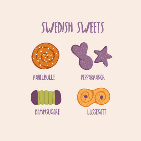 swedish: hand drawn illustration of traditional swedish sweets and bakery