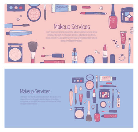 cosmetics products: Hand drawn template for banner for web page with makeup and other cosmetics products Illustration