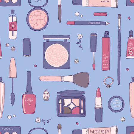 Hand drawn seamless pattern of makeup and other cosmetics products Ilustrace