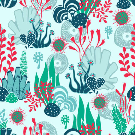 hand drawn seamless underwater pattern with seaweeds and other sea plants and habitants