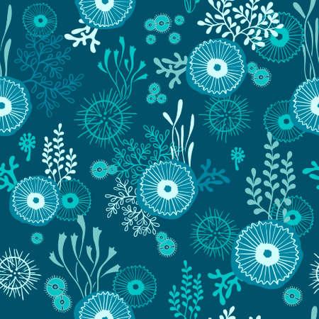 手で海藻とクラ ゲの水中世界とのシームレスなパターンを描画