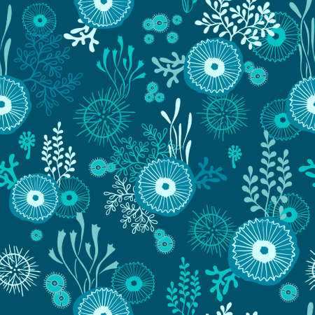 hand drawn seamless pattern with underwater world of seaweeds and jellyfish