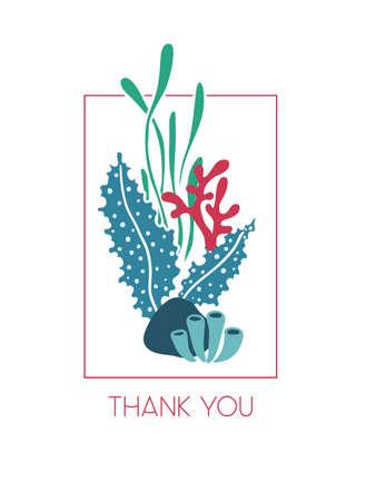 手書きテキストありがとうございます海藻のグリーティング カード水中花束。海や海のテーマ。  イラスト・ベクター素材
