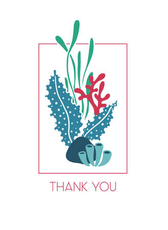 hand drawn greeting card underwater bouquet of seaweeds with text Thank you. Ocean or sea theme.