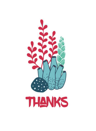 手描き本文と海藻の水中花束をグリーティング カードに感謝します。海や海の海洋のテーマ。