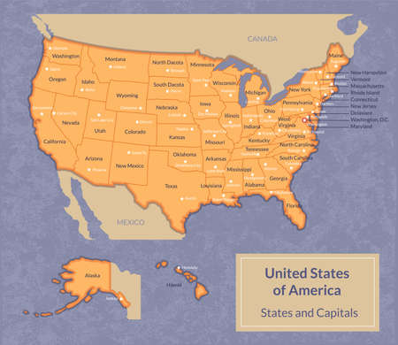 illustration of USA map with all states and their capitals. Vintage look with grunge texture. Ilustrace