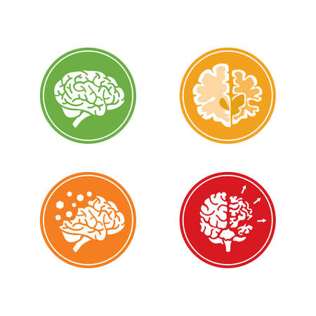 memory loss: Set of flat vector Icons with human brain and concept of dementia and other mental health problems. Circle background.