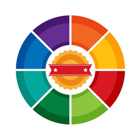 8 つの側面インフォ グラフィック パイ図] テンプレート。ホイール web、バナー、レポート、プレゼンテーション、パンフレットの多色のチャート。