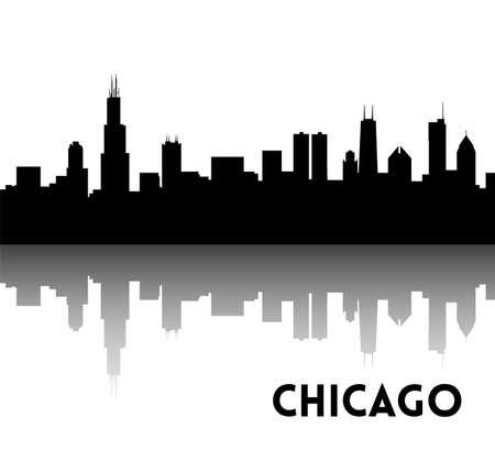 シカゴのスカイラインのシルエットのベクター黒。ダウンタウンの高層ビル。イリノイ、米国。