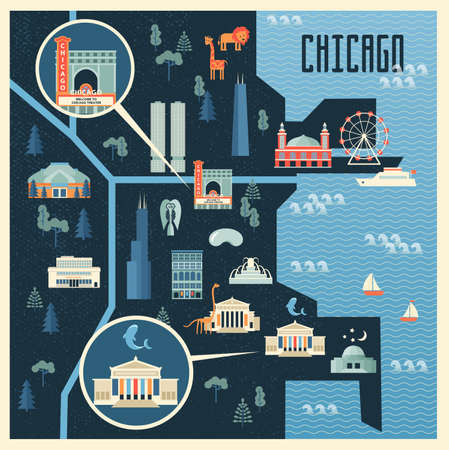 illustration of map with landmarks of Chicago. Famous places, historical buildings, sightseeing  Flat style. Иллюстрация