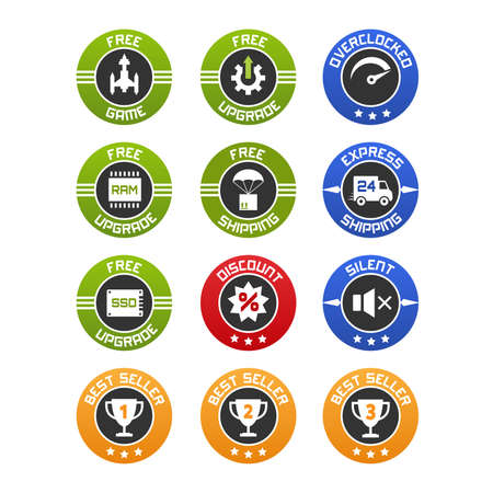 computers online: set of flat icons or badges for computers online selling. Free upgrade, game, ram ssd, shipping, discount and best seller. Illustration