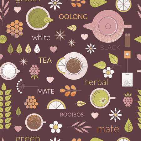 line seamless pattern with different types of tea like black, oolong, green and white tea. Dark brown background, cups teapot and other ingredients of tea ceremony