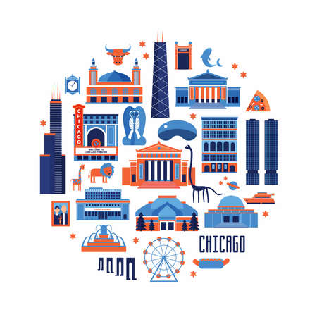 Blue and red set of Chicago' famous landmarks. Flat style designed historic buildings, sightseeing  on white background.