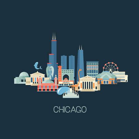 有名なランドマークとシカゴのスカイラインのイラスト。グリーティング カードや歴史的建造物、フラット スタイルの観光ポスター。