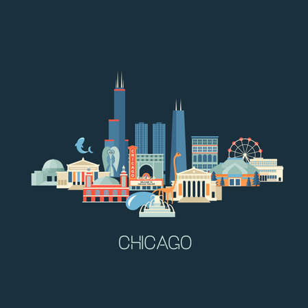 illustration of Chicago skyline with famous landmarks. Greeting card or poster with historical buildings, sightseeing Flat style.