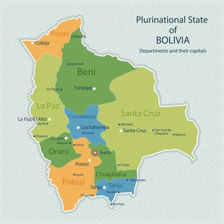 ボリビアの行政上の地図のイラスト。国、部門および大都市の首都。フラットなデザイン、きれいな外観