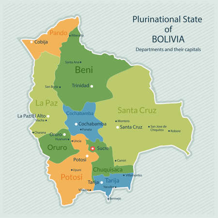 mapa de bolivia: Ilustración de la correspondencia administrativa de Bolivia. Capital del país, los departamentos y las grandes ciudades. Diseño plano, aspecto limpio Vectores