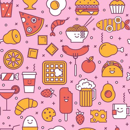 レストラン、ファーストフードのようにコーヒー、ピザ、ウェーハ、ハンバーガー、アイスクリーム、中国板で楽しいシームレス パターン。ピンク