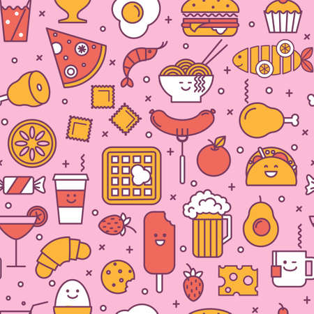Fun seamless pattern with restaurant and fast food like coffee, pizza, wafer, burger, ice cream and chinese plates. Pink, red and yellow colors. Smiling faces, iconic style, line art. 矢量图像