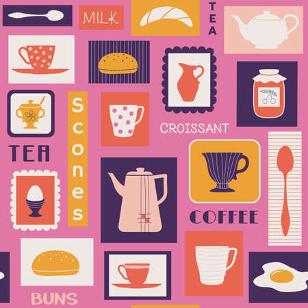 seamless pattern with traditional food and tableware like plates, mugs, teapot. Drinks for breakfast or break coffee, tea, milk and bakery buns, scones and eggs.
