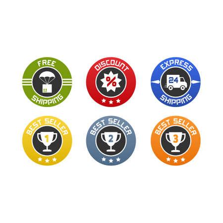 フラット アイコンまたはオンライン販売のためのバッジのセット。無料、送料、割引、ゴールド、シルバー、ブロンズのベストセラーを表現します  イラスト・ベクター素材