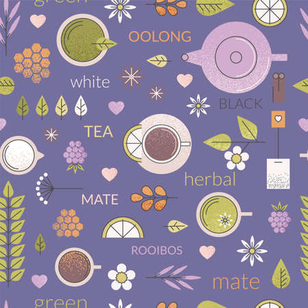 chamomile tea: Vector pastel seamless pattern with different types of tea like black, oolong, green and white tea with anise, rooibos and chamomile. Purple background, cups and ingredients. Line art. Illustration