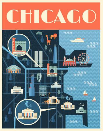 シカゴのランドマークのマップのベクトル ポスターのイラスト。有名な場所、歴史的建造物、観光、知られている美術館。フラット スタイル。