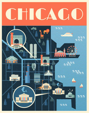 Vector poster illustration of map with landmarks of Chicago. Famous places, historical buildings, sightseeing and known museums. Flat style. 矢量图像