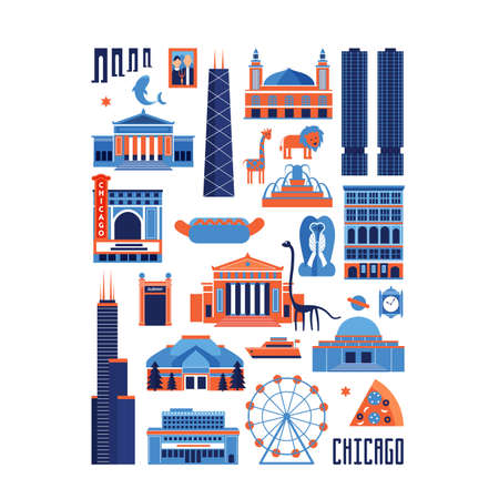 シカゴの青と赤のベクトルを設定 ' の有名なランドマーク。フラット スタイル設計の歴史的建造物、観光に知られている博物館ホワイト バック