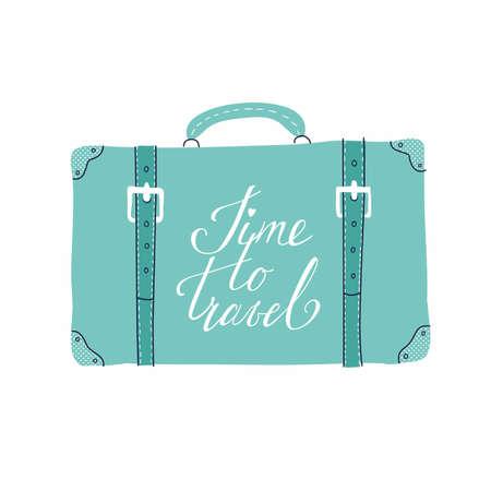 旅行、休暇、冒険をテーマとしたカードのベクトル テンプレートです。レトロな 50 年代スタイル。手描きのレタリング旅行する時間とスーツケース