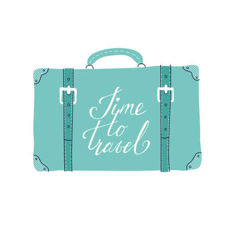 Vector template for card on the theme of travel, vacation, adventure. Retro 50s style. Suitcase with handdrawn lettering Time to travel