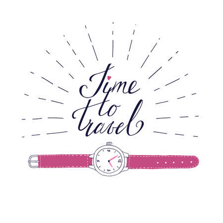 Vector template for card on the theme of travel, vacation, adventure. Retro 50's style. Handdrawn vintage watch with beautiful lettering Time to travel